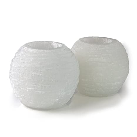 Beverly Oaks Energy Infused Selenite Lamps - 2 Selenite Crystal Snowballs with Cool White LED Tealight