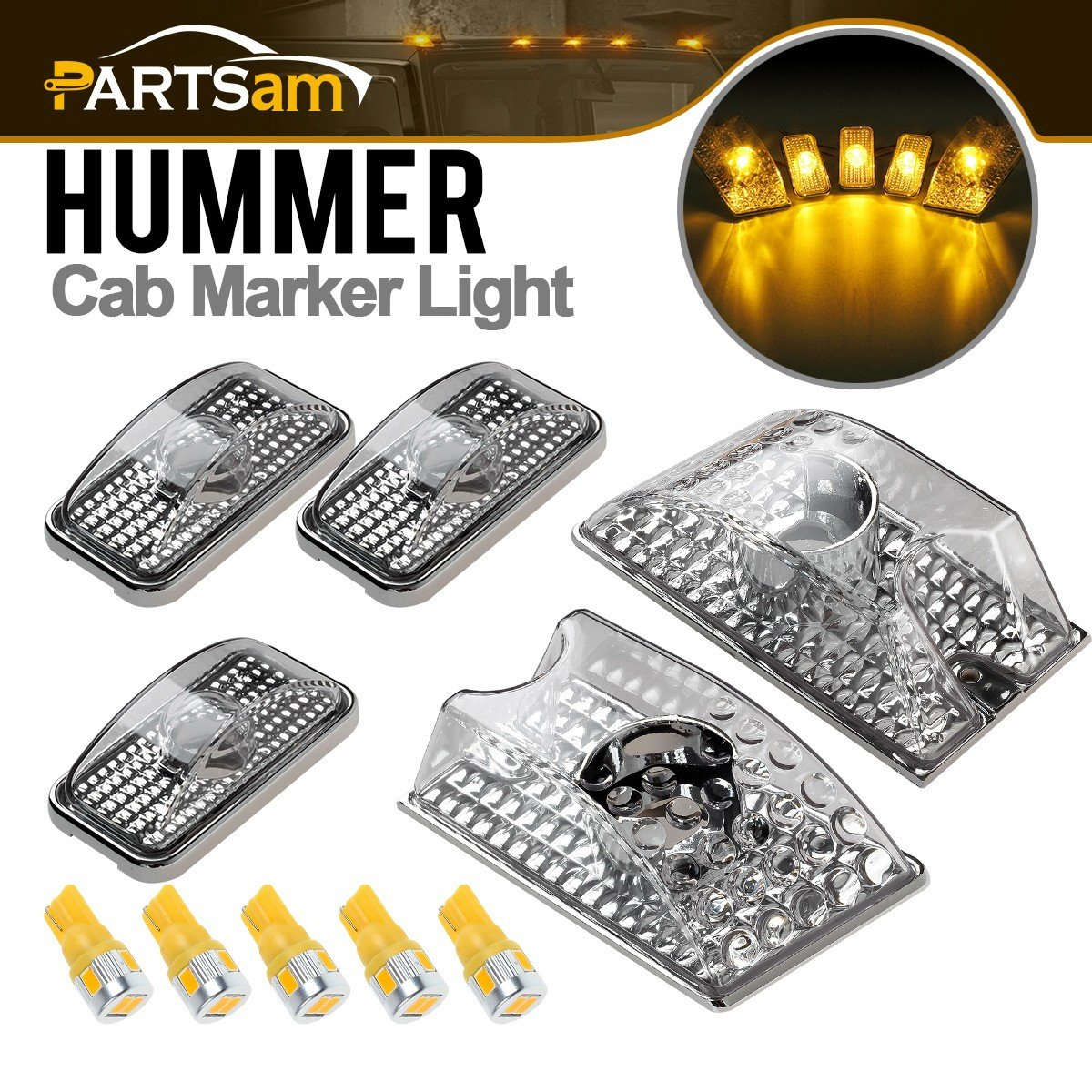 Partsam 5PCS 264160CL Front Cab Marker Top Roof Light LED Clearance Crystal Chrome Lights + 5PCS 194 168 W5W Amber T10 LED Bulbs Replacement for 2003 2004 2005 2006 2007 2008 2009 Hummer H2 SUV SUT