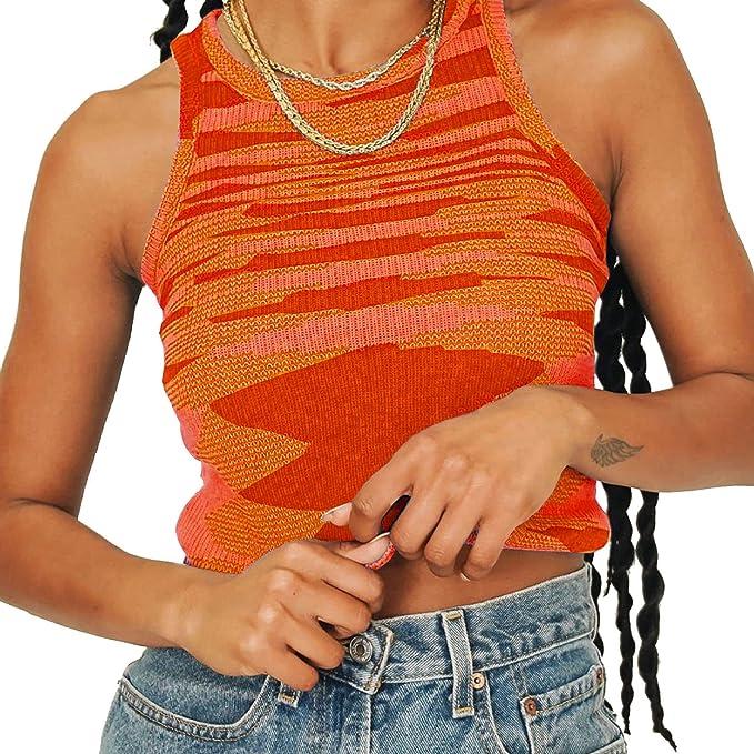 Artfish Women Casual Basic Sleeveless High Neck Rib-Knit Y2k Crop Tank Top
