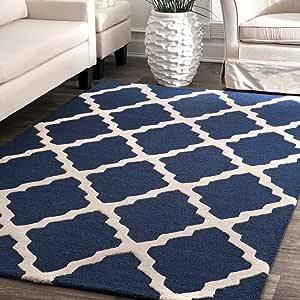 nuLOOM Marrakech Trellis Wool Rug, 5' x 8', Navy