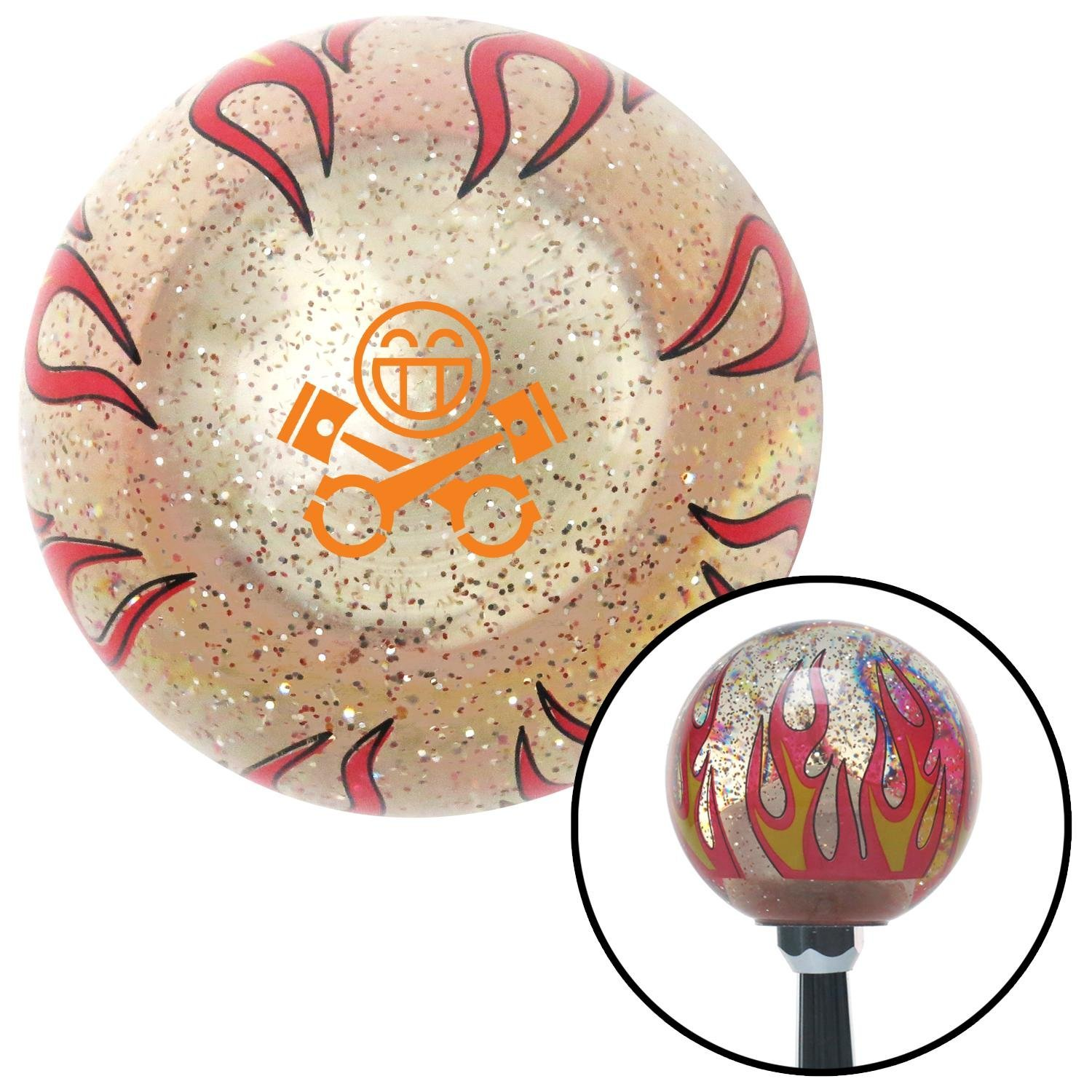 Orange Smiley Pistons Clear Flame Metal Flake with M16 x 1.5 Insert American Shifter 295872 Shift Knob