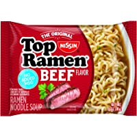 Nissin Top Ramen, Beef, 3 Ounce (Pack of 24)
