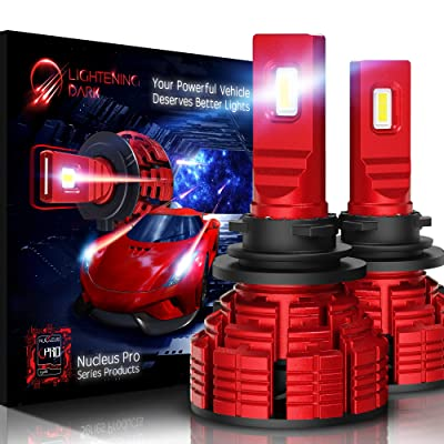 LIGHTENING DARK H11 H8 H9 led headlight bulb, 16000 Lumens Extremely Bright Nucleus Pro Conversion Kit - 6500K Cool White, Adjustable Beam: Automotive