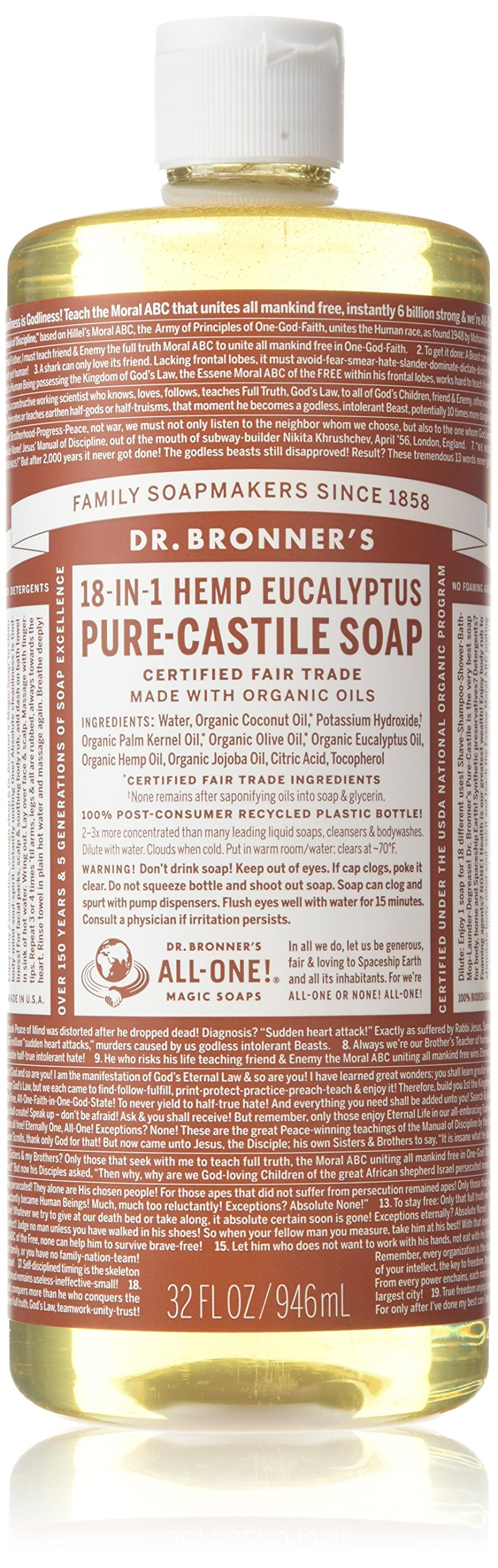 Dr. Bronner's Fair Trade & Organic Castile Liquid Soap - (Eucalyptus, 32 oz)