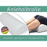 Kniehalbrolle (50 x 20 x 12 cm) mit Kissenbezug oder Kissenbezug einzeln - entspannte Lagerung der Beine - optimal für eine ergonomische Schlafposition für alle Rückenschläfer, Kniehalbrolle