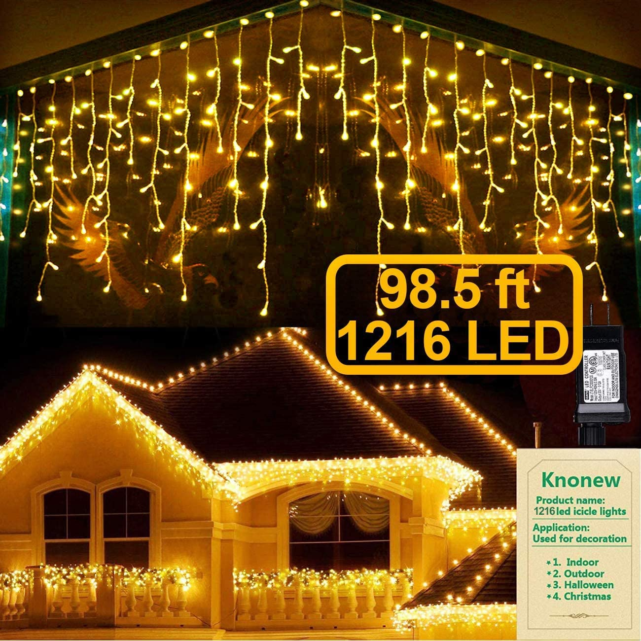 KNONEW LED Icicle Lights, 98ft 1216 LED, 8 Modes, Curtain Fairy Light Clear Wire LED String Decor for Christmas/Thanksgiving/Easter/Halloween/Party Backdrops Decorations (Warm White)
