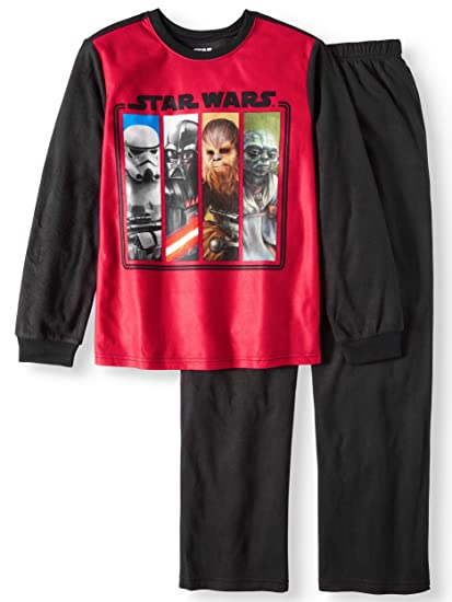 d80fb8a0db Amazon.com  Boys Star Wars Darth Vader Chewbacca Yoda Brushed Jersey ...