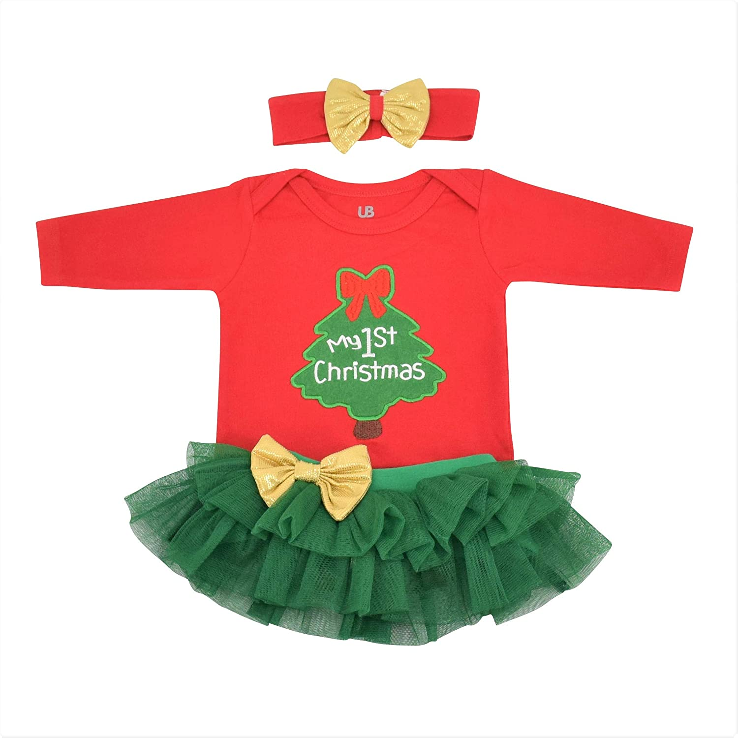 Unique Baby Girls My 1st Christmas Tutu Onesie Layette Set Outfit