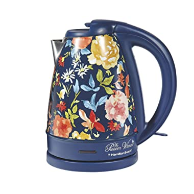 Pioneer Woman 1.7 Liter Electric Kettle Blue/Fiona Floral by Hamilton Beach (L x W x H) 8.78 x 6.34 x 9.53 Inches