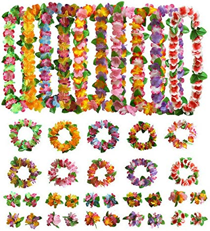 Garlands Hawaiian Flower Lei Tropical Party Fancy Dress 12 Colour