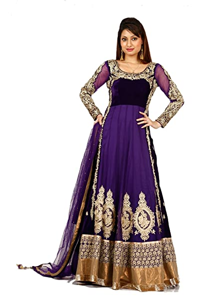 0aae993d16 Bawree Women's Party Wear Velvet & Net Gown [30987_Wine_Large]: Amazon.in:  Clothing & Accessories