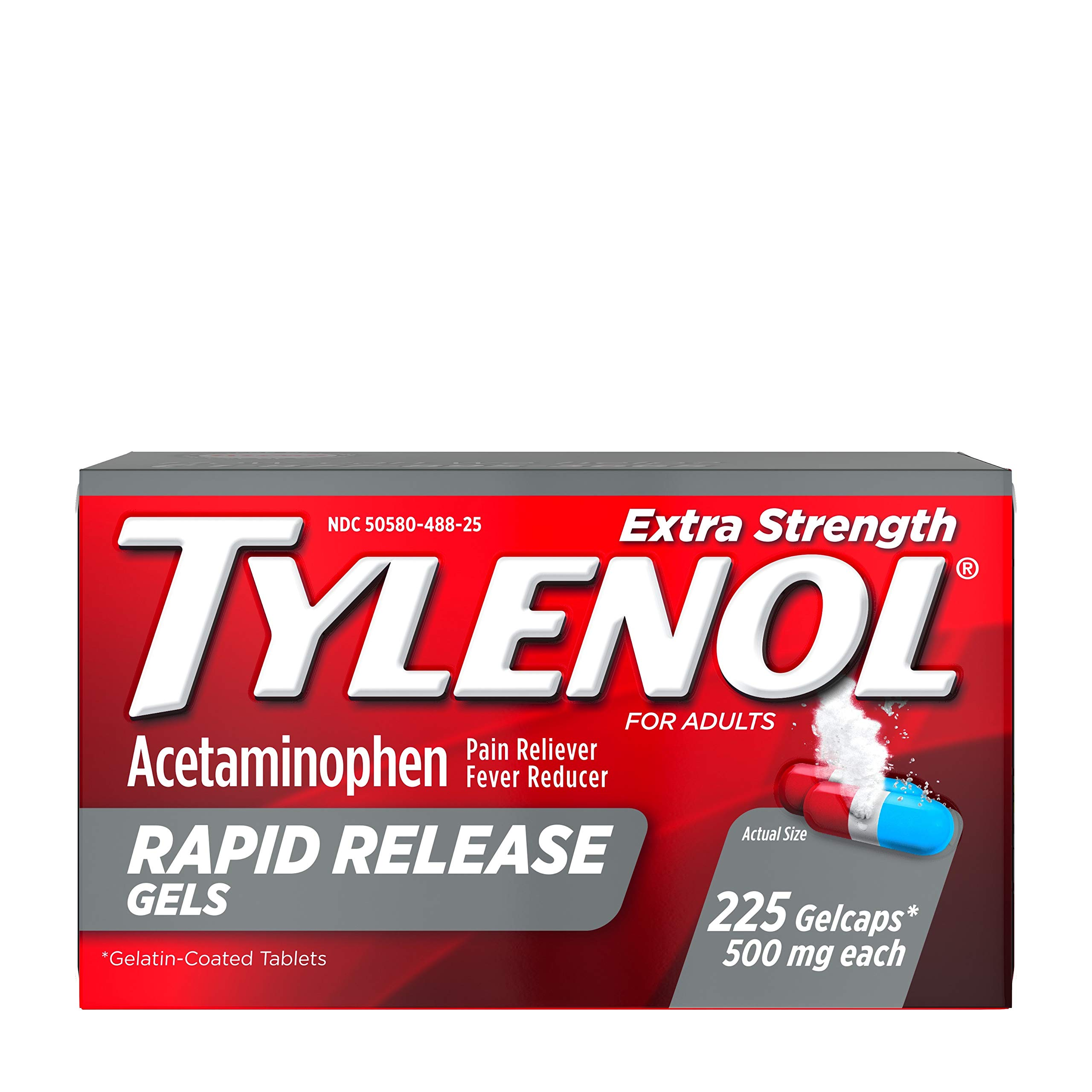 Tylenol Extra Strength Rapid Release Gels with Acetaminophen, Pain Reliever & Fever Reducer, 225 ct by Tylenol