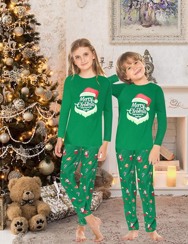 Evanhome Matching Family Pajamas for Mom Dad and Baby Long Sleeve Family Pjs Sleepwear Christmas Print Pajama Set