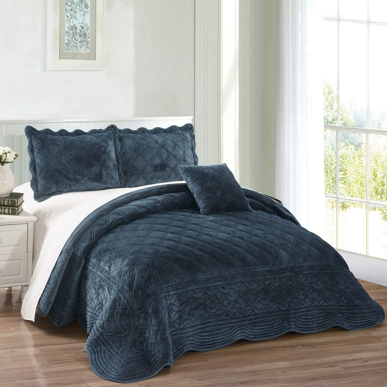 Serenta Super Soft Microplush Quilted 4 PCs Bedspread Set. King, Blue Sapphire