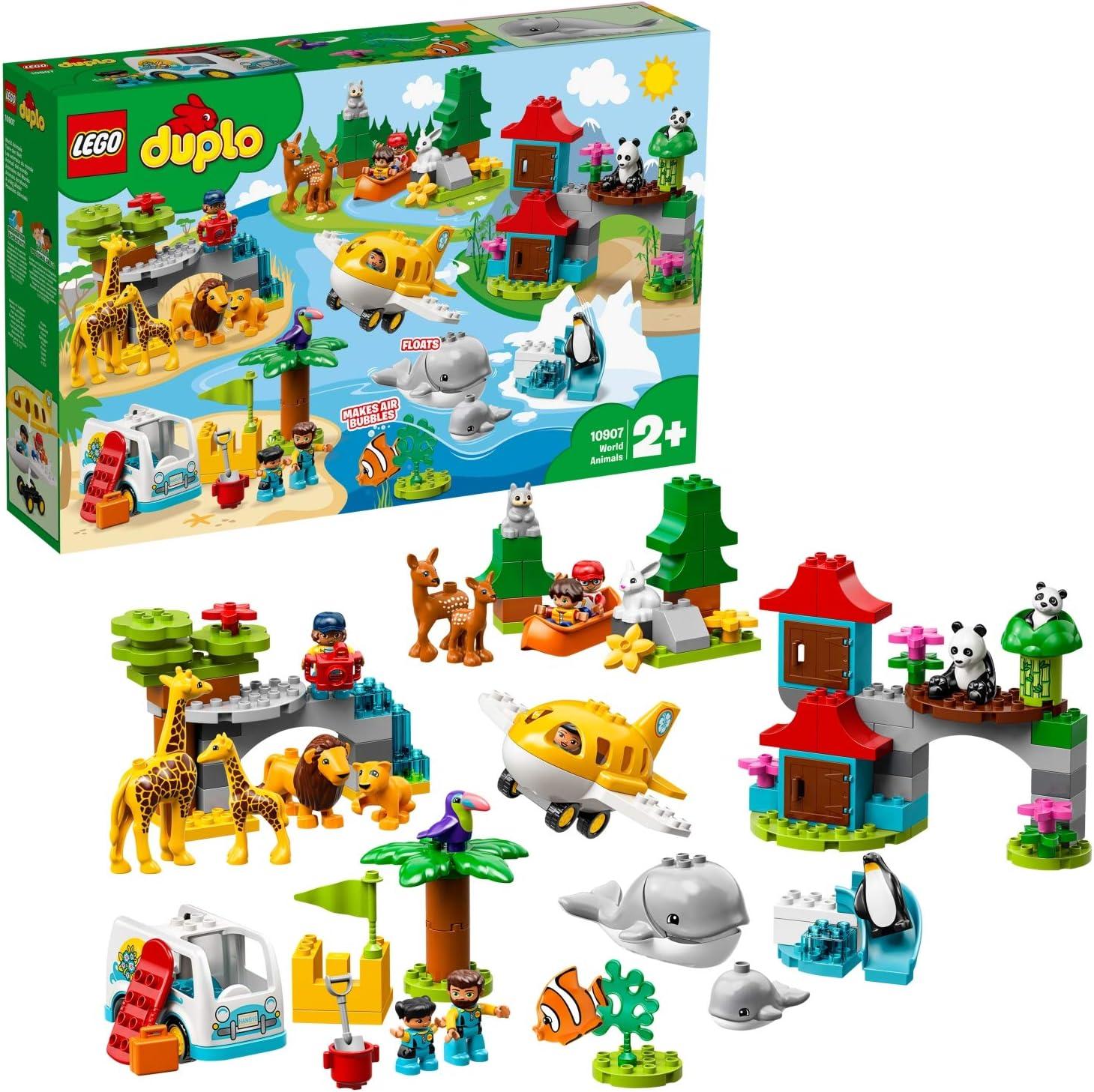 LEGO® DUPLO® Les animaux du monde Jouet d'Aventure Incluant 15 Animaux pour Tout Petits, Fille et Garçon dès 2 Ans, 121 Pièces de Construction 10907