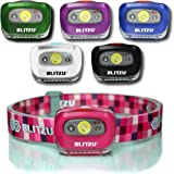 BLITZU LED Headlamp Flashlight for Adults and Kids - Waterproof Super Bright Cree Head Lamp with Red Light, Comfortable Headband Perfect for Running, Camping, Hiking, Fishing, Hunting