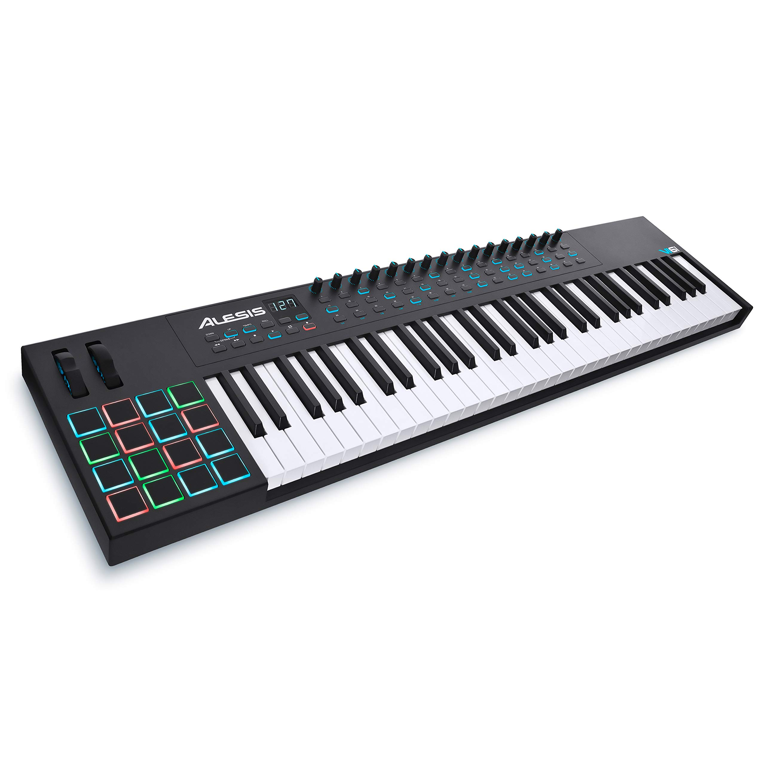 Alesis VI61 61-Key USB MIDI Keyboard Controller with 16 Pads, 16 Assignable Knobs, 48 Buttons and 5-Pin MIDI Out Plus Production Software Included by Alesis