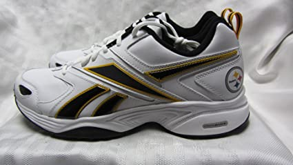 Reebok Pittsburgh Steelers Mens Size 8 Pro Evaluate Trainer White Black  Gold Shoes Sneakers AMZ- f3b0ccf0e
