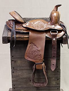 """D.A Brand 10/"""" Black Leather Child/'s Western Pony Saddle w// Suede Seat"""