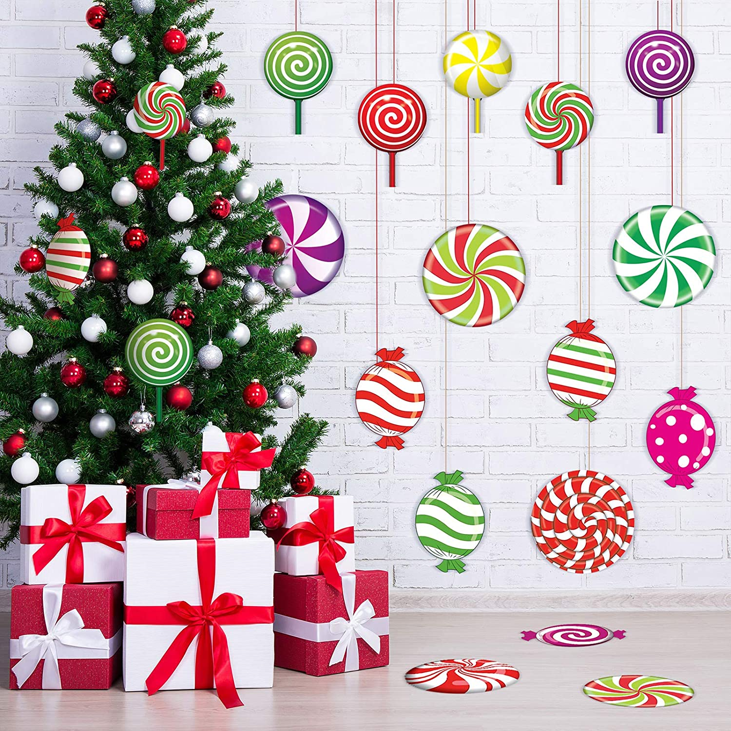 30 Pieces Peppermint Cutouts Colorful Candies Round Lollipop Cutouts for Christmas Decoration Candy Party Wall Cutouts with Stickers Xmas Candy Party Decor Classroom Bulletin Board Decoration