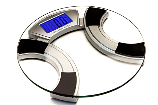 Trim Digital Bathroom Scale with LCD Display, Tempered Glass Surface