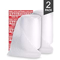 TeiKis 2-Pack (12 in x 72 ft) Bubble Cushioning Wrap Roll Perforated 3/16 inch for Moving Shipping Packing Supplies with 20 Fragile Stickers