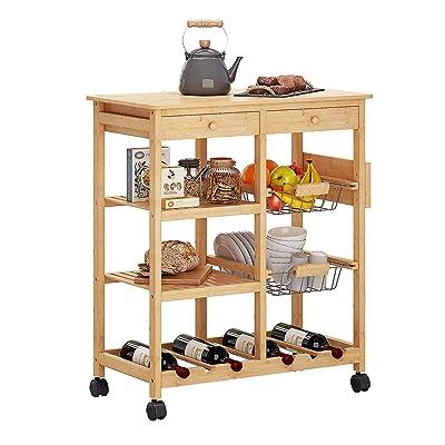 Buy Homefort Kitchen Island Cart Bamboo Kitchen Bar Serving Cart Kitchen Storage Trolley Utility Cart Rack With 2 Storage Drawers 2 Baskets Dining Stands 3 Tier Wine Rack Shelves 30 90 H Natural Wood Online In Turkey B0925rz7mg