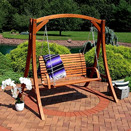 sunnydaze deluxe 2 person wooden patio swing patio deck yard - Patio Swing