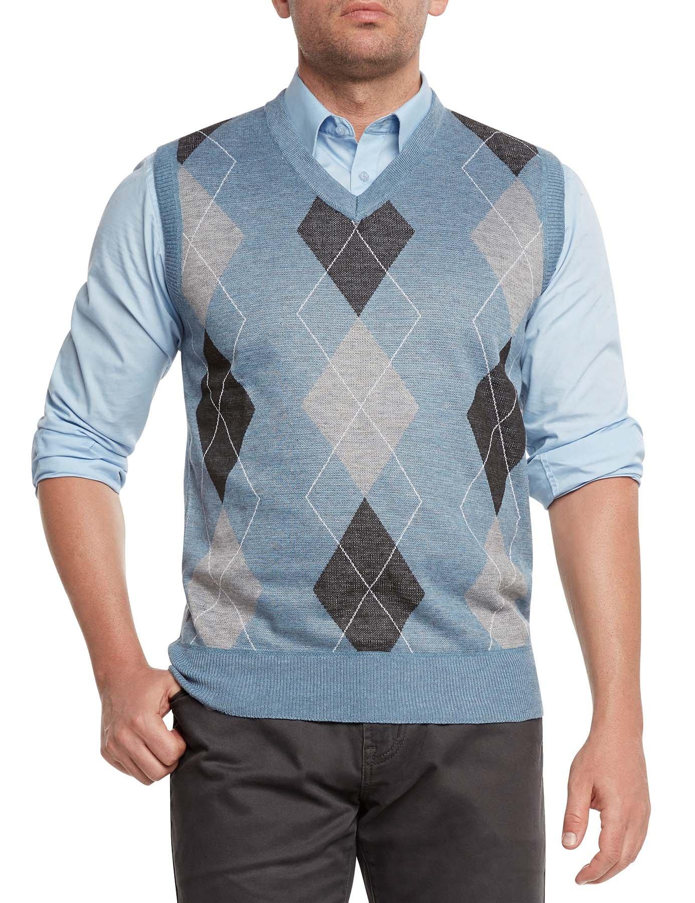True Rock Men's Argyle V-Neck Sweater Vest-Light Blue/Blk/Gray-Medium