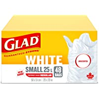Glad White Garbage Bags - Small 25 Litres - Unscented, 48 Trash Bags (packaging may vary)