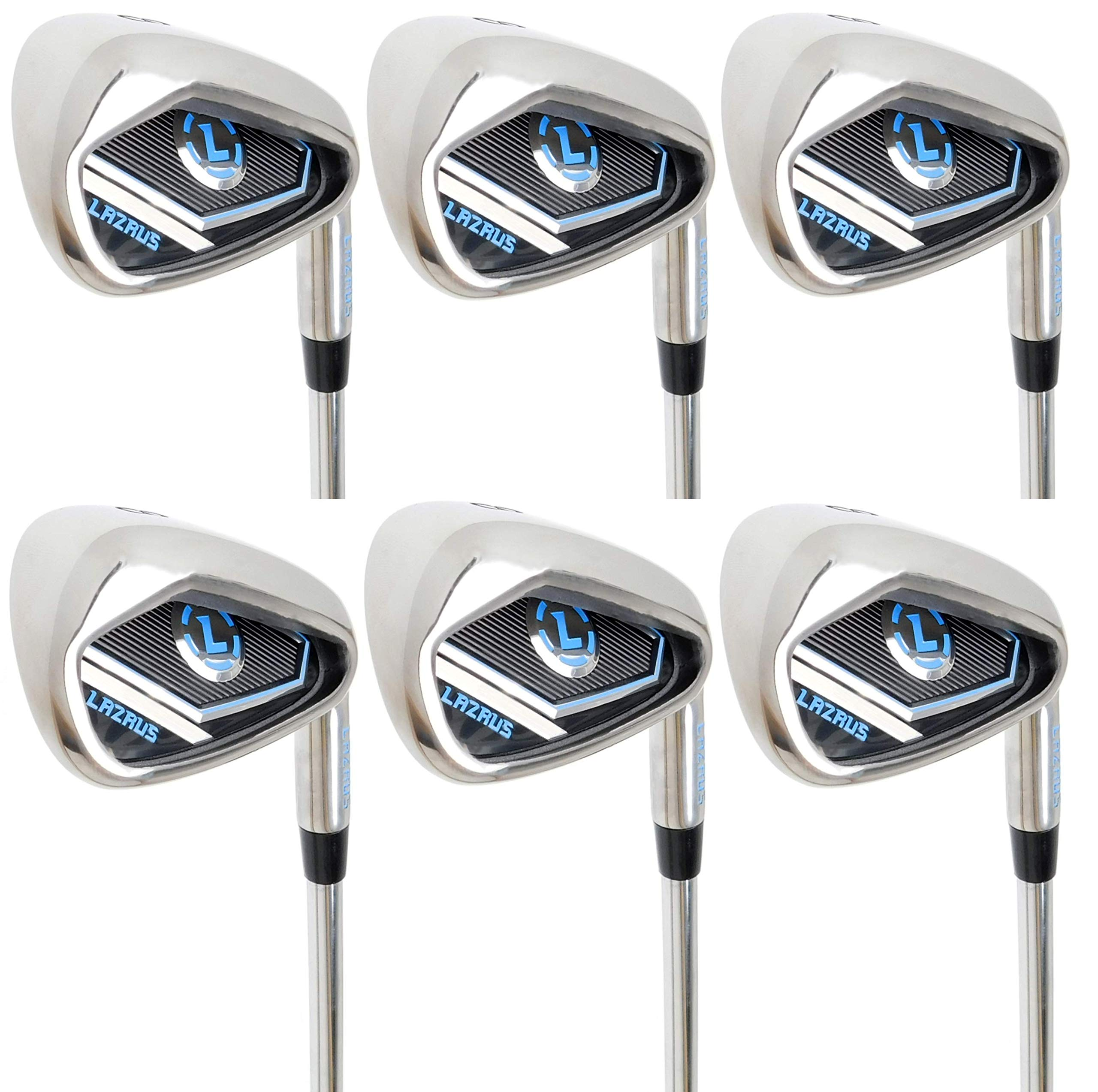 LAZRUS Premium Golf Irons Set for Men (4,5,6,7,8,9) Right Hand Steel Shaft Regular Flex Golf Clubs - Best Golf Iron Set - Great Golf Gift for Beginner Or Intermediate (Silver) by LAZRUS GOLF