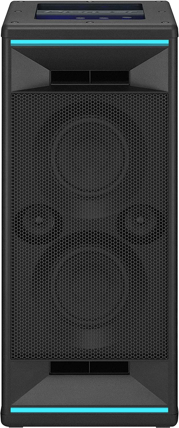 Pioneer Club 5 Bluetooth Party Speaker (Soundbox with LED light effects, Voice Control, USB for MP3 playback, for iPhone iOS and Android, App, 2 x 60 Watt RMS) black
