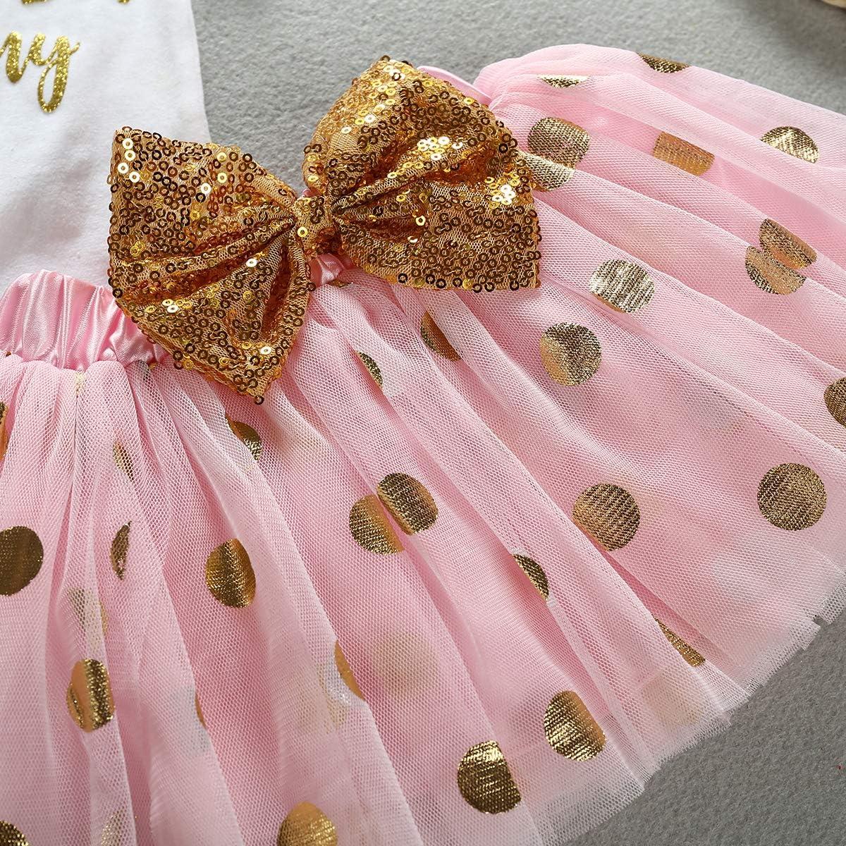 Newborn Infant Baby Girl My 1st Mothers Day Skirt Set Romper+Tutu Pink Dot Skirt+Headband+Legging Warmer 4Pcs