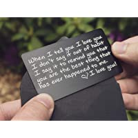 Wallet Card Love Note | Engraved Aluminum Anniversary Gifts for Men, Husband Gifts from Wife | Boyfriend Gift Idea…