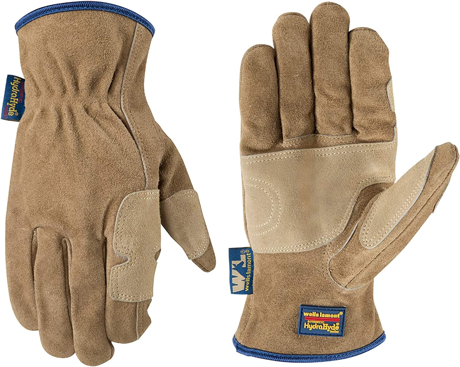 Men's Heavy Duty Genuine Leather Work Gloves, Water-Resistant HydraHyde (Wells Lamont 1019M)