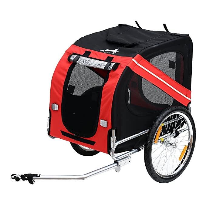 Aosom Elite Pet Dog Bike Trailer with Type 'A' Hitch, Leash Hook, Satety Flag & Suspension