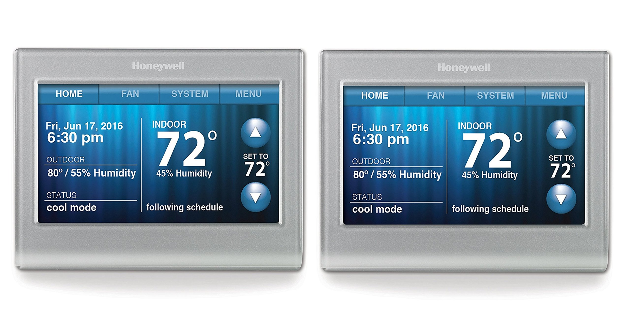 Honeywell RTH9580WF Smart Wi-Fi 7 Day Programmable Color Touch Thermostat, Works with Amazon Alexa (Pack of 2)