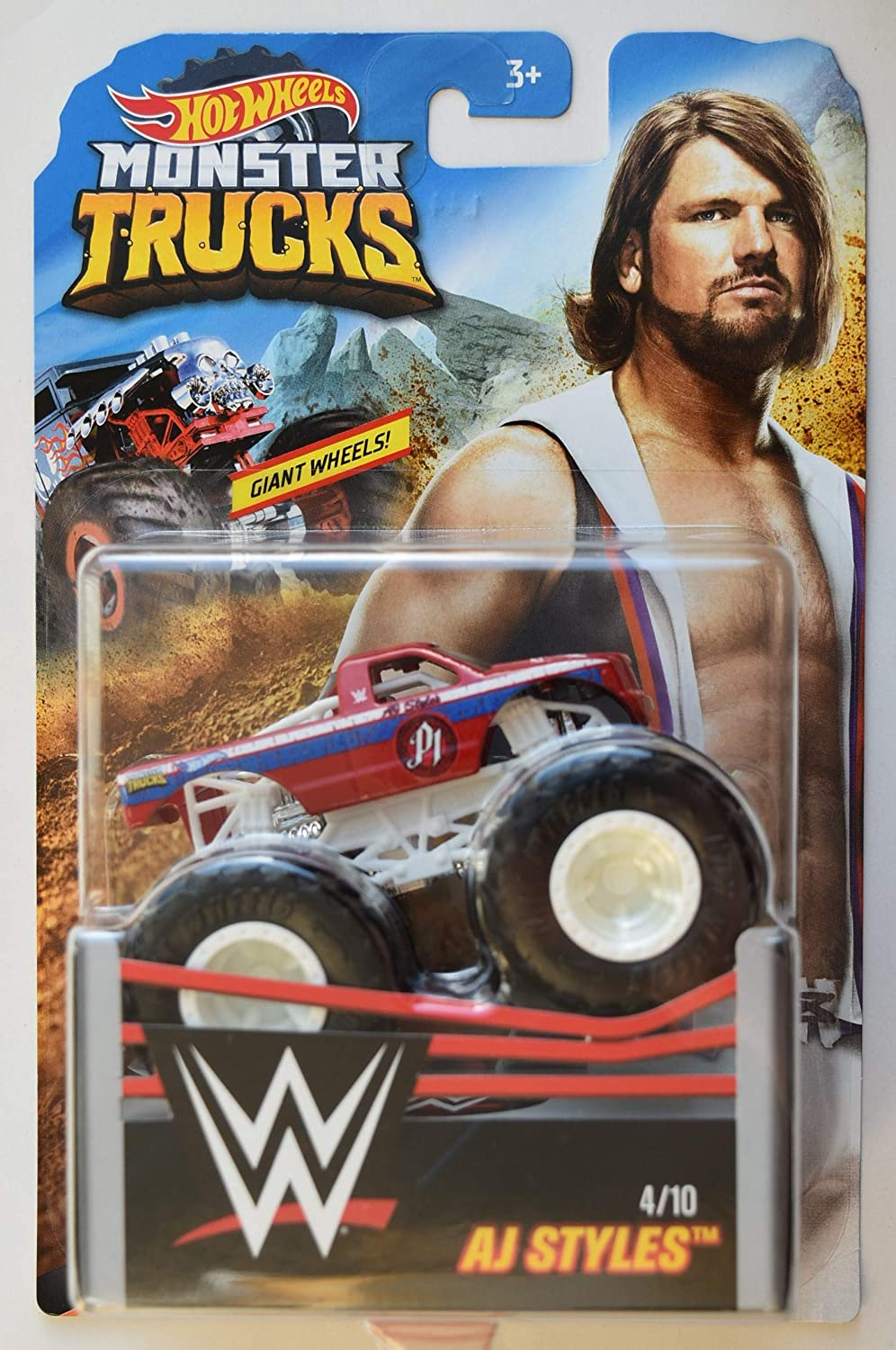 Amazon Com Hot Wheels Monster Trucks 1 64 Scale Aj Styles 4 10 Giant Wheels Toys Games