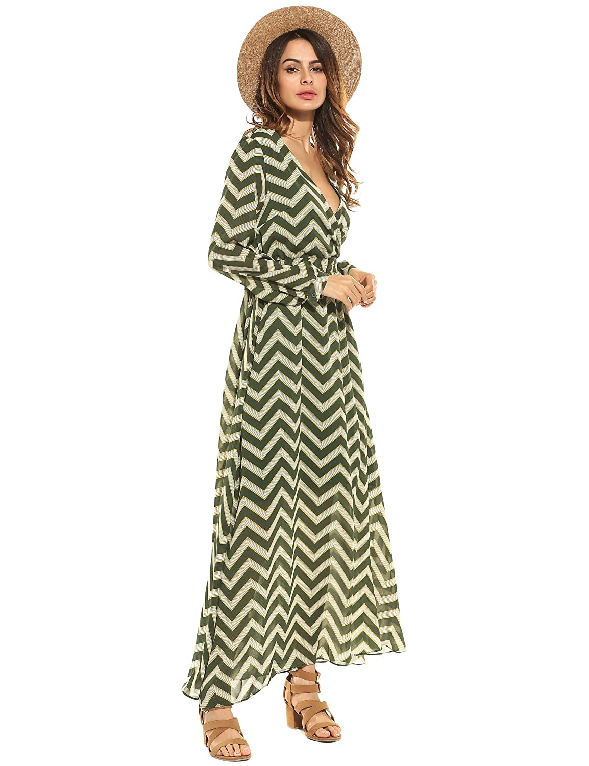 e0ec55d148c Zeagoo Women Deep V-Neck Long Sleeve Elegant Striped Chiffon Cocktail Long  Maxi Dress at Amazon Women s Clothing store
