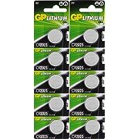 GP Lithium knoopcellen CR2025 3 V, 10 knoopcelbatterijen CR 2025 spanning 3 volt voor verschillende apparaten en…