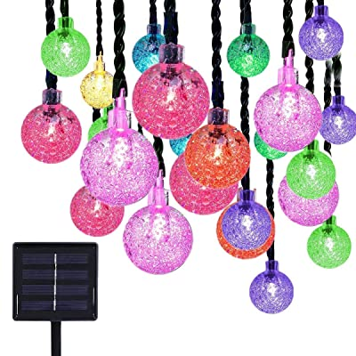 EONLYX Solar Crystal Ball String Lights, 20ft 30 LED Crystal Globe Fairy Lights Waterproof Crystal Ball Globe Lights Outdoor Solar String Lights for Garden Yard Christmas Decorations (Multi) : Garden & Outdoor