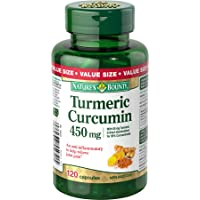 Nature's Bounty Turmeric Curcumin Pills and Herbal Health Supplement, Helps Relieve Joint Pain, Source of antioxidents, 450mg, 120 Capsules