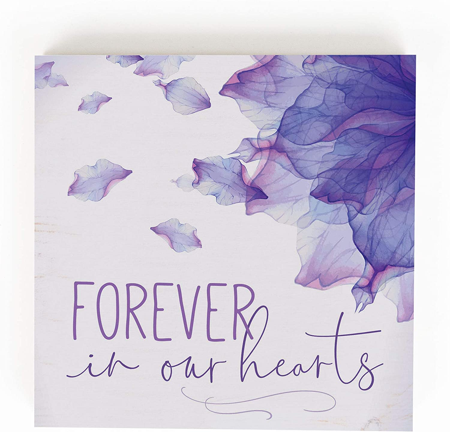 P. Graham Dunn Forever in Our Hearts Floral Purple 5.38 x 5.38 Pine Wood Word Block Plaque