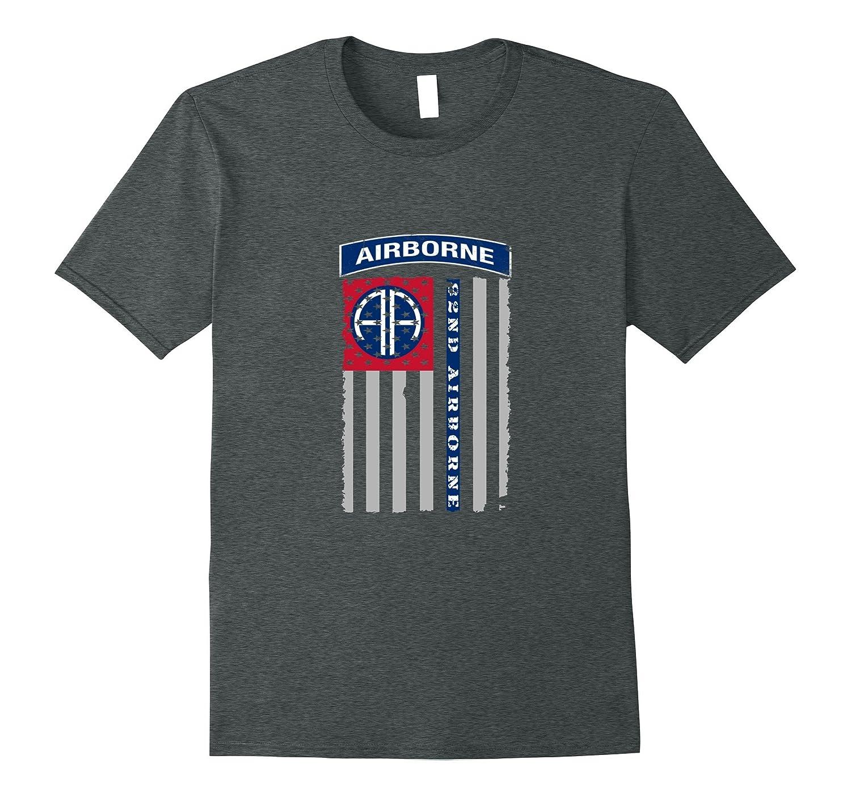82nd Airborne Veteran Paratrooper American Flag T-shirt