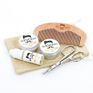 Mo Bro's Grooming Kit- Moustache Wax, Beard Balm, Oil, Comb, Scissors & Gift Bag (Vanilla & Mango)