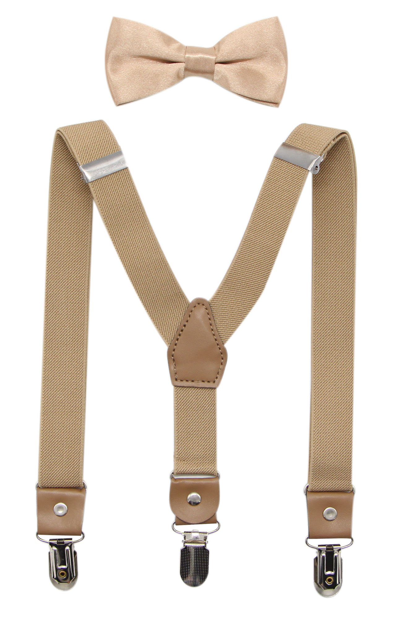 Bioterti Suspenders and Bow Tie For Toddler Kids Boys Adjustable With Strong Clips (Champagne)