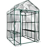 Plant Large Walk in Greenhouse with Clear Cover - 12 Shelves Stands 3 Tiers Racks - Herb and Flower Garden Green House