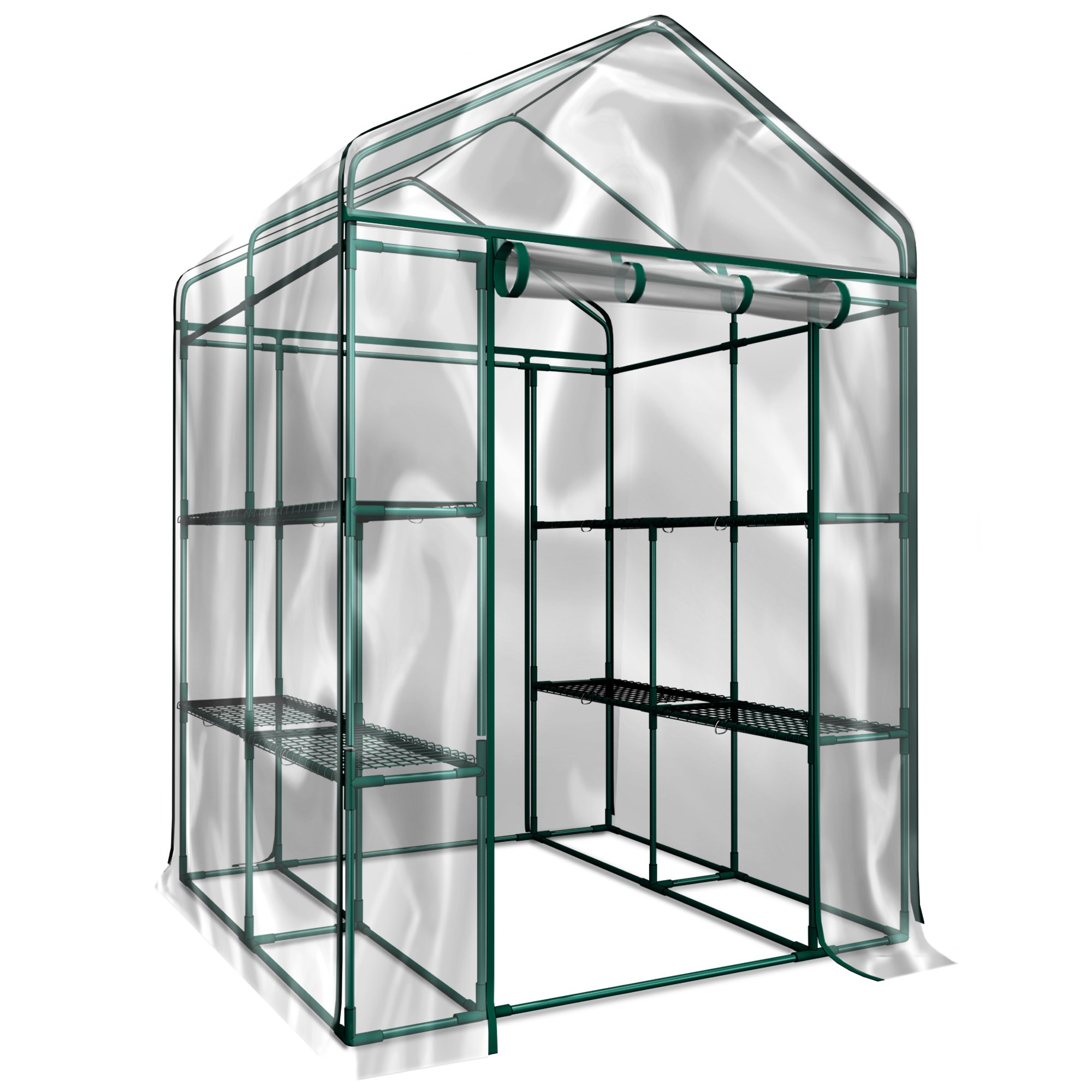 Green House HC-4202 Walk-in Greenhouse- Indoor Outdoor with 12 Sturdy Shelves-Grow Plants,