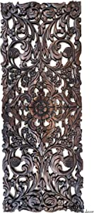 Large Carved Wood Floral Wall Panel. Tropical Asian Home Decor in Dark Brown Finish, Size 35.5