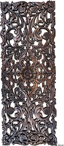 Large Carved Wood Floral Wall Panel. Tropical Asian Home Decor in Dark Brown Finish, Size 35.5 x13.5
